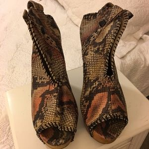 Jeffrey Campbell snakeskin wedge